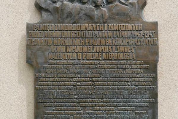 Tablica upamiętniająca zamordowanych w latach 1942-1945